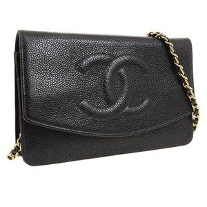 CHANEL CC Chain Shoulder Wallet Bag Black Caviar S